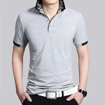 Short Sleeve Polo T-Shirt 6825 Grey / XXXL - Men Tops & Tees | MegaMallExpress.com