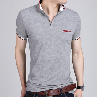 Short Sleeve Polo T-Shirt 6369 Grey / XXXL - Men Tops & Tees | MegaMallExpress.com