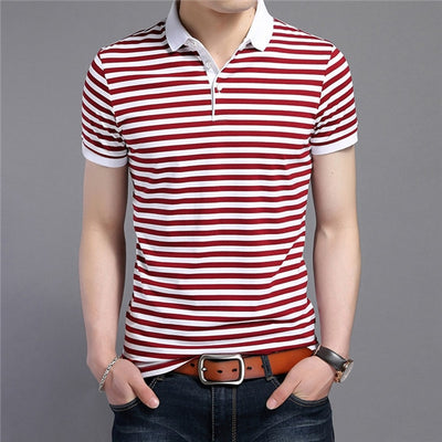 Short Sleeve Polo T-Shirt Red Striped / XXXL - Men Tops & Tees | MegaMallExpress.com
