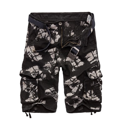 Camouflage Cargo Shorts Black Camo / 44 - Men Bottoms | MegaMallExpress.com