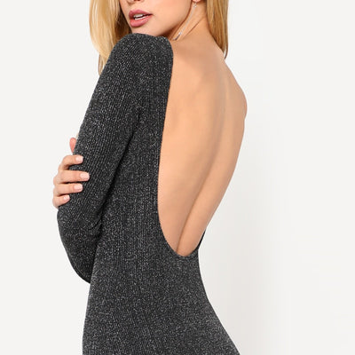 Low Back Long Sleeve Glitter Mini Dress  - Women Dresses | MegaMallExpress.com