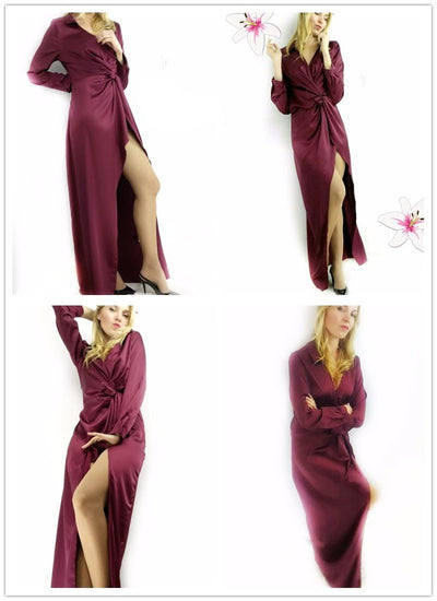 Sexy Burgundy Satin Party Dress  - Women Dresses | MegaMallExpress.com