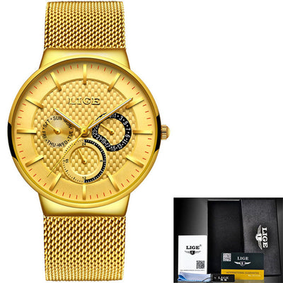 Slim Men's Watch With Mesh Strap steel all gold - Men Watches | MegaMallExpress.com