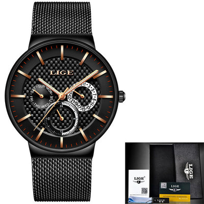 Slim Men's Watch With Mesh Strap steel black gold - Men Watches | MegaMallExpress.com
