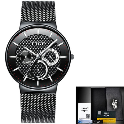 Slim Men's Watch With Mesh Strap steel all black - Men Watches | MegaMallExpress.com
