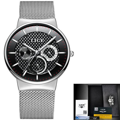 Slim Men's Watch With Mesh Strap steel silver black - Men Watches | MegaMallExpress.com