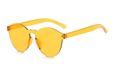 Women Flat Sunglasses Bright Colors Yellow - Women Sunglasses | MegaMallExpress.com
