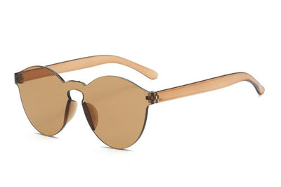 Women Flat Sunglasses Bright Colors Brown - Women Sunglasses | MegaMallExpress.com
