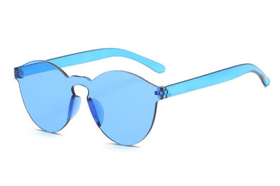 Women Flat Sunglasses Bright Colors Blue - Women Sunglasses | MegaMallExpress.com