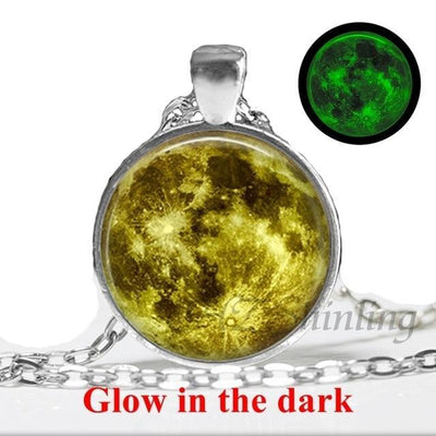 Glow in the Dark Glass Pendant Necklace 1 / Bronze - Necklaces & Pendants | MegaMallExpress.com