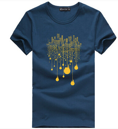 Printed T-Shirts Dark Blue 522056 / XXXL - Men Tops & Tees | MegaMallExpress.com