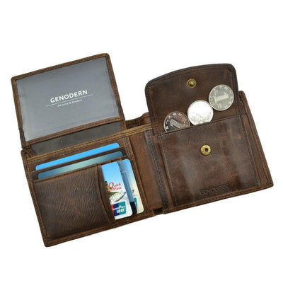 Men Vintage Leather Wallet with Coin Pocket  - Men Wallets | MegaMallExpress.com