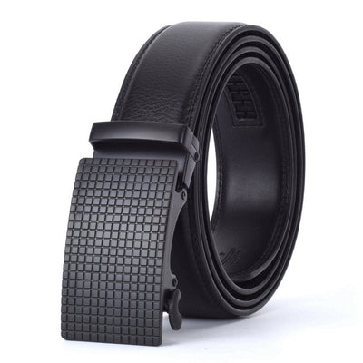 Automatic Buckle Leather Waist Strap Belts Black A / 130cm - Men Belts | MegaMallExpress.com