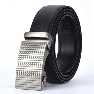 Automatic Buckle Leather Waist Strap Belts Black B / 130cm - Men Belts | MegaMallExpress.com