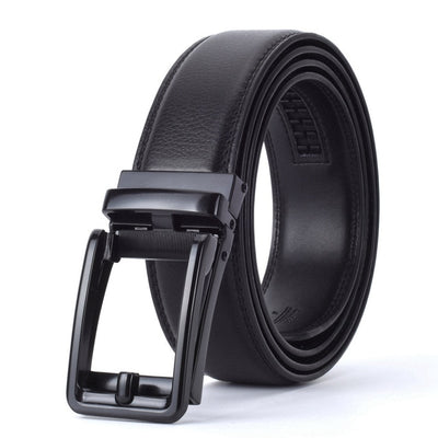 Automatic Buckle Leather Waist Strap Belts Black C / 130cm - Men Belts | MegaMallExpress.com
