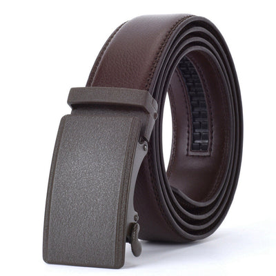 Automatic Buckle Leather Waist Strap Belts Brown V / 130cm - Men Belts | MegaMallExpress.com