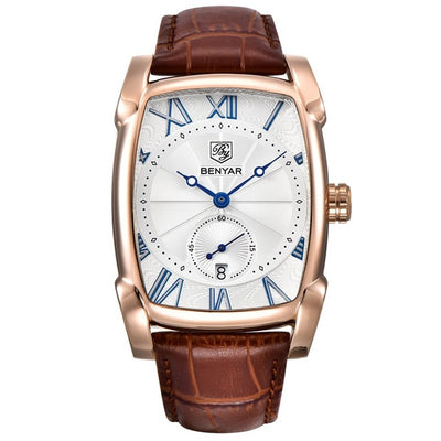 Men's Rectangular Watch Gold White - Men Watches | MegaMallExpress.com