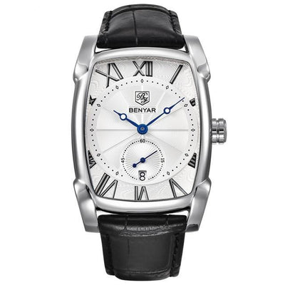 Men's Rectangular Watch Black Silver White - Men Watches | MegaMallExpress.com