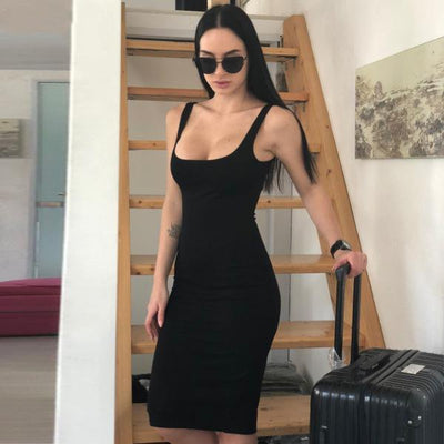 Women Slim Bodycon Party Dress Sleeveless Black / S - Women Dresses | MegaMallExpress.com