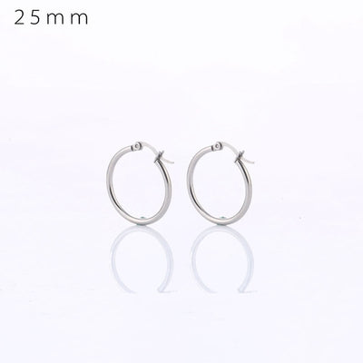 Classic Hoop Earrings 25mm Steel - Earrings | MegaMallExpress.com