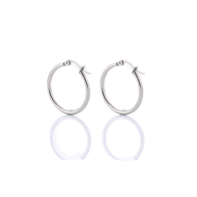 Classic Hoop Earrings 35mm Steel - Earrings | MegaMallExpress.com