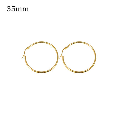 Classic Hoop Earrings 35mm Gold - Earrings | MegaMallExpress.com