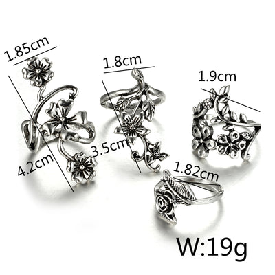 Rose Flower Rings Set Silver - Casual Rings | MegaMallExpress.com