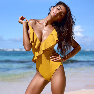 Women V Neck Monokini Yellow / XXL - Women Swimwear & Cover Ups | MegaMallExpress.com
