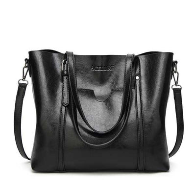 Women's Oil Waxed Leather Shoulder Bags black / 30 x 12 x 26 cm - Women Handbags & Purses | MegaMallExpress.com