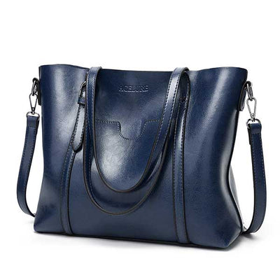 Women's Oil Waxed Leather Shoulder Bags dark blue / 30 x 12 x 26 cm - Women Handbags & Purses | MegaMallExpress.com