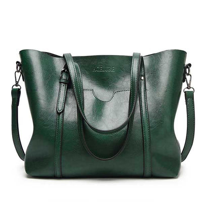 Women's Oil Waxed Leather Shoulder Bags green / 30 x 12 x 26 cm - Women Handbags & Purses | MegaMallExpress.com