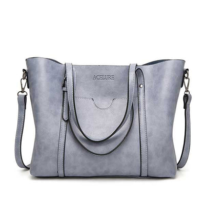 Women's Oil Waxed Leather Shoulder Bags Light blue / 30 x 12 x 26 cm - Women Handbags & Purses | MegaMallExpress.com