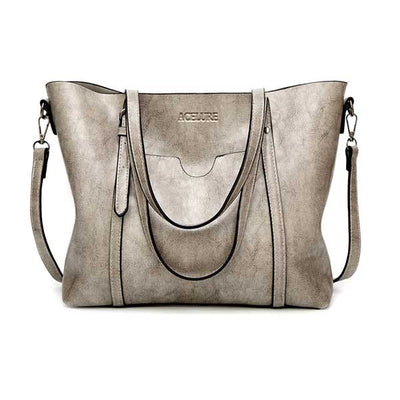 Women's Oil Waxed Leather Shoulder Bags Light gray / 30 x 12 x 26 cm - Women Handbags & Purses | MegaMallExpress.com