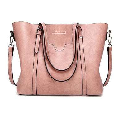 Women's Oil Waxed Leather Shoulder Bags Pink / 30 x 12 x 26 cm - Women Handbags & Purses | MegaMallExpress.com