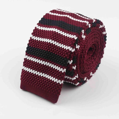 Knitted Ties for Men Wine Red 33 - Men Ties & Accessories | MegaMallExpress.com