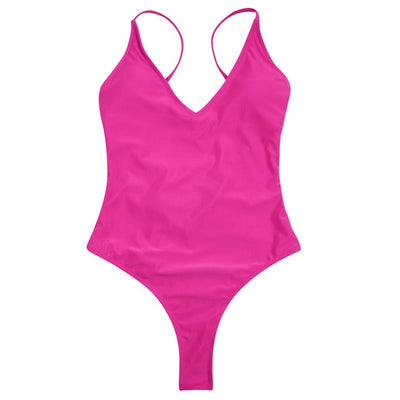 Women One Piece Backless Swimsuit rose red / M - Women Swimwear & Cover Ups | MegaMallExpress.com