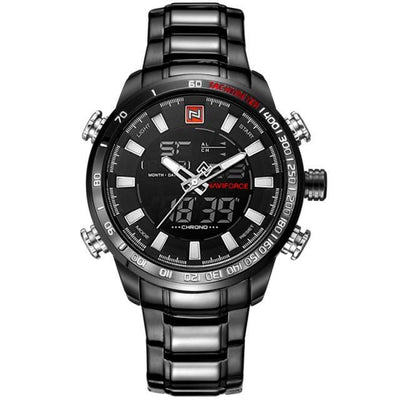 Men Stainless Steel Chronograph Watch Black White - Men Watches | MegaMallExpress.com