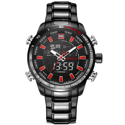 Men Stainless Steel Chronograph Watch Black Red - Men Watches | MegaMallExpress.com