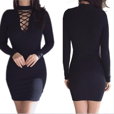 Women Sheath Dress Long Sleeves Black / XL - Women Dresses | MegaMallExpress.com
