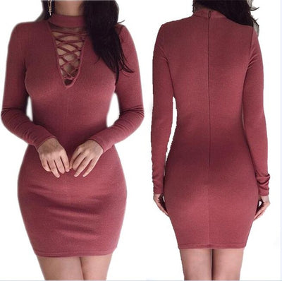 Women Sheath Dress Long Sleeves Wine Red / XL - Women Dresses | MegaMallExpress.com