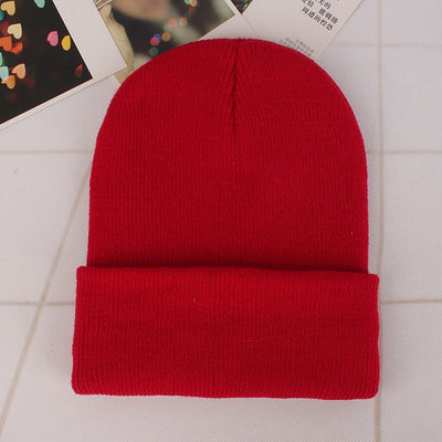 Women Beanie Caps Solid Colors Red Cap - Women Socks & More | MegaMallExpress.com