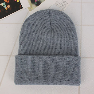 Women Beanie Caps Solid Colors Light grey Cap - Women Socks & More | MegaMallExpress.com