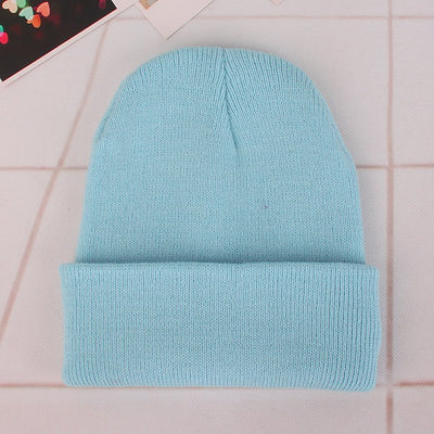 Women Beanie Caps Solid Colors Light blue Cap - Women Socks & More | MegaMallExpress.com