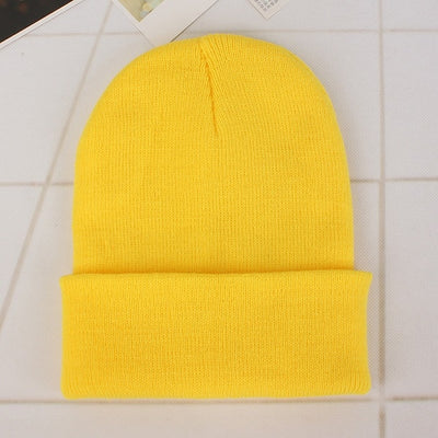 Women Beanie Caps Solid Colors Light yellow Cap - Women Socks & More | MegaMallExpress.com