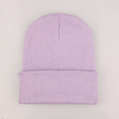 Women Beanie Caps Solid Colors Light purple Cap - Women Socks & More | MegaMallExpress.com