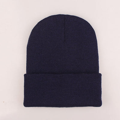Women Beanie Caps Solid Colors Navy Cap - Women Socks & More | MegaMallExpress.com