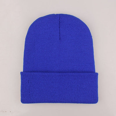 Women Beanie Caps Solid Colors Royal Blue Cap - Women Socks & More | MegaMallExpress.com