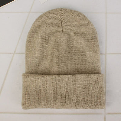 Women Beanie Caps Solid Colors Beige Cap - Women Socks & More | MegaMallExpress.com