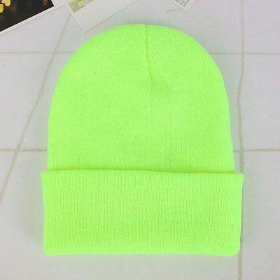 Women Beanie Caps Solid Colors Light Green Cap - Women Socks & More | MegaMallExpress.com