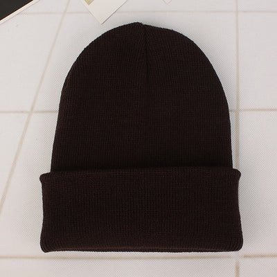 Women Beanie Caps Solid Colors Dark coffee Cap - Women Socks & More | MegaMallExpress.com